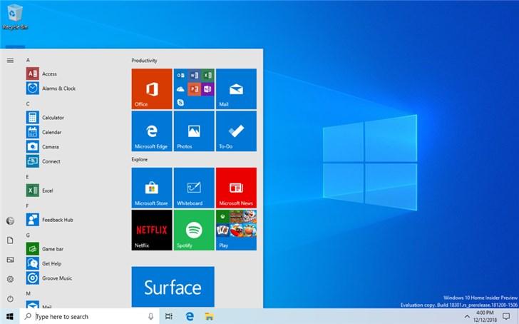 微软Windows 10 20H1预览版18980更新内容大全