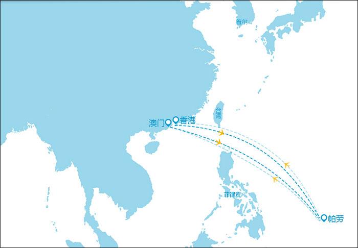帕劳太平洋航空公司航线图(官方网站)