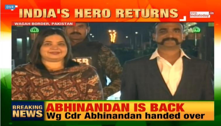《今日印度》:印度的英雄阿比纳丹回来了。