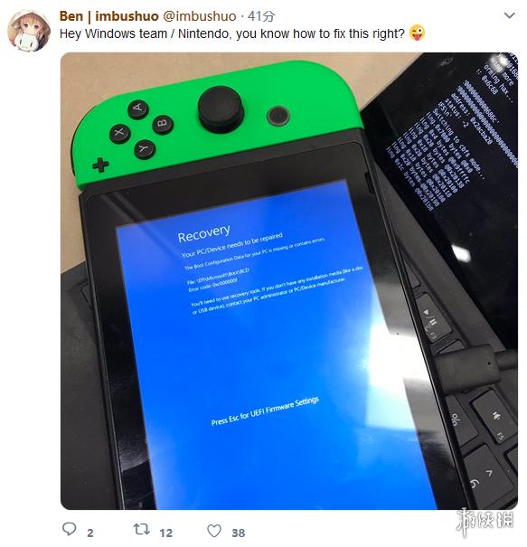 技术牛人成功将Win10刷入Switch 可惜进入系统就蓝