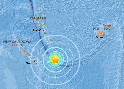 南太平洋发生7.1级地震 斐济等地或出现1米高海啸
