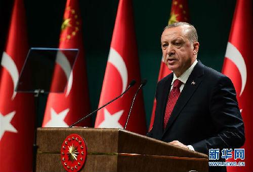 4月18日,土耳其总统埃尔多安在安卡拉举行的新闻发布会上讲话。新华社发(穆斯塔法・卡亚 摄)