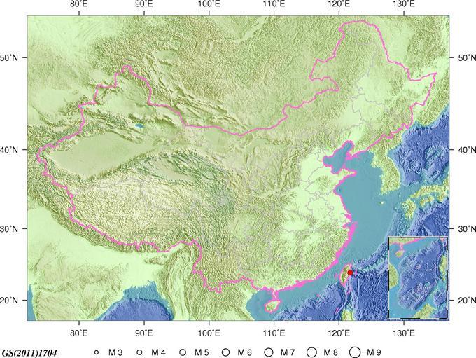 6月11日23时42分台湾花莲县海域发生4.3级地震