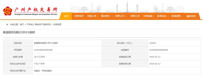 广州国资合并重组加速,新晟期货实际控股权遭转让