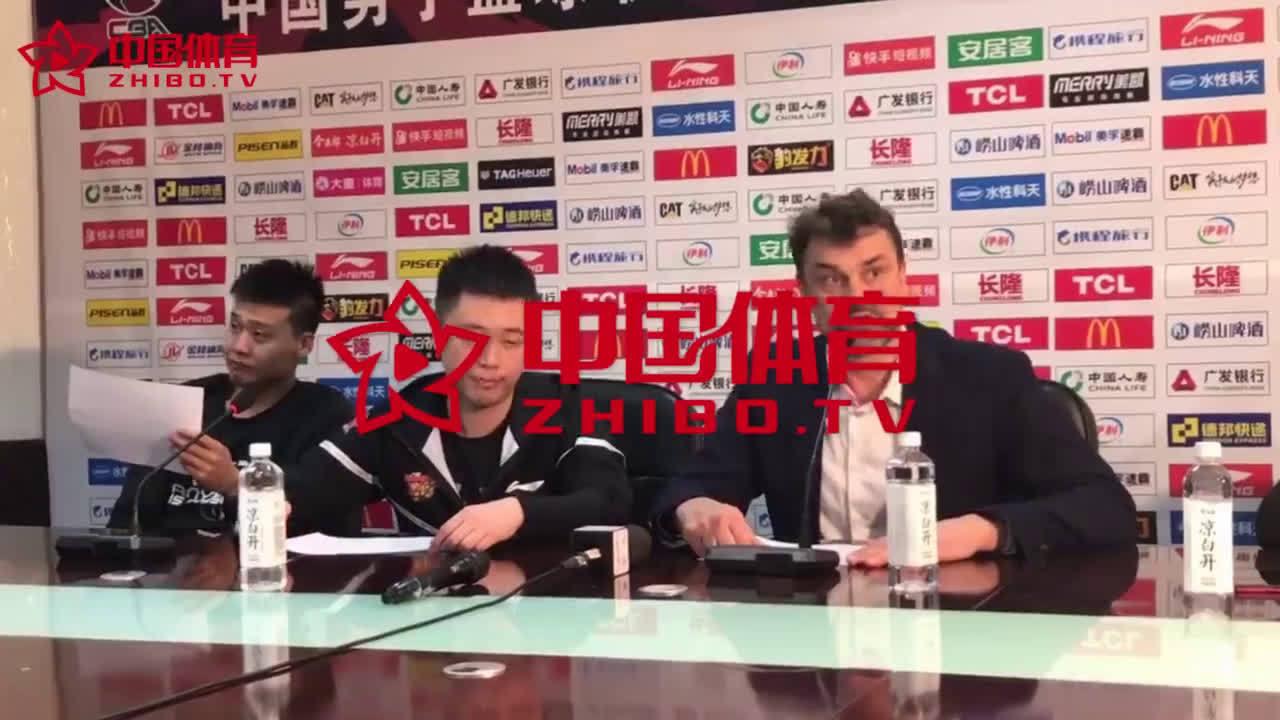 【字幕】广东代理主帅谈获胜关键因素:下半场易建联抢到很多关键