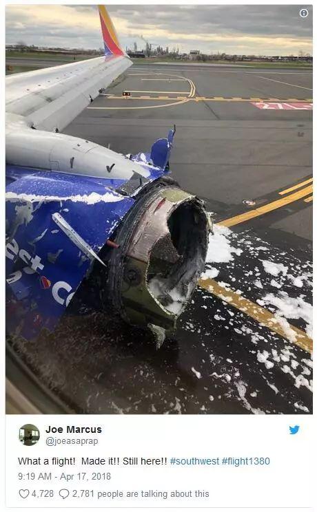 吓死了!客机空中引擎爆炸,女乘客半个身子被吸出窗外,大家用外套堵窗