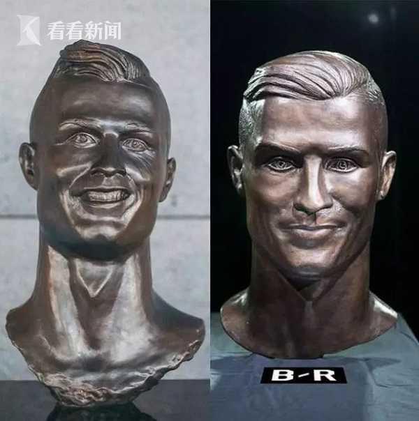 """一年后的C罗雕塑""""2.0版本"""",是不是更相似一些了呢?"""