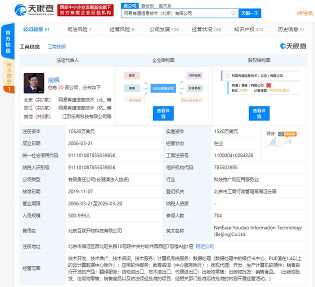 有道翻译官运营主体新增注册资本至约1.05亿美元