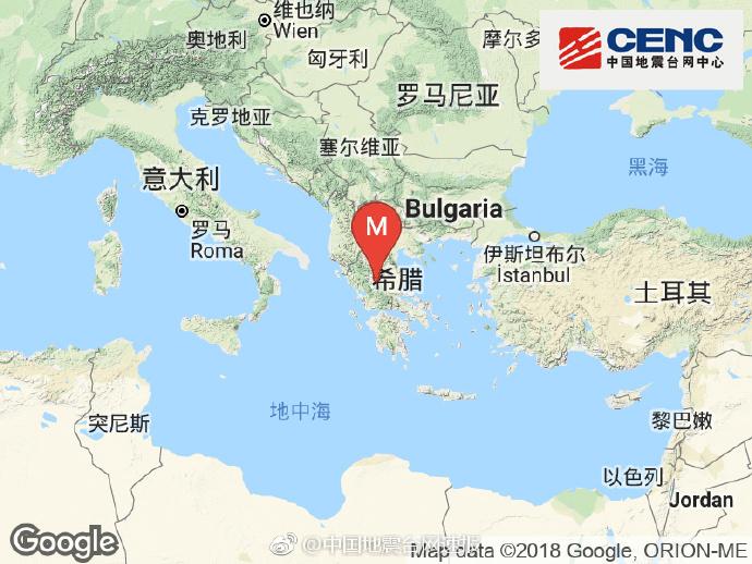 希腊发生5.0级地震 震源深度20千米