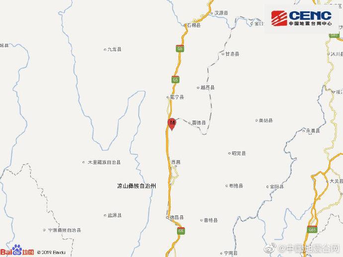 四川凉山州冕宁县发生3.5级地震