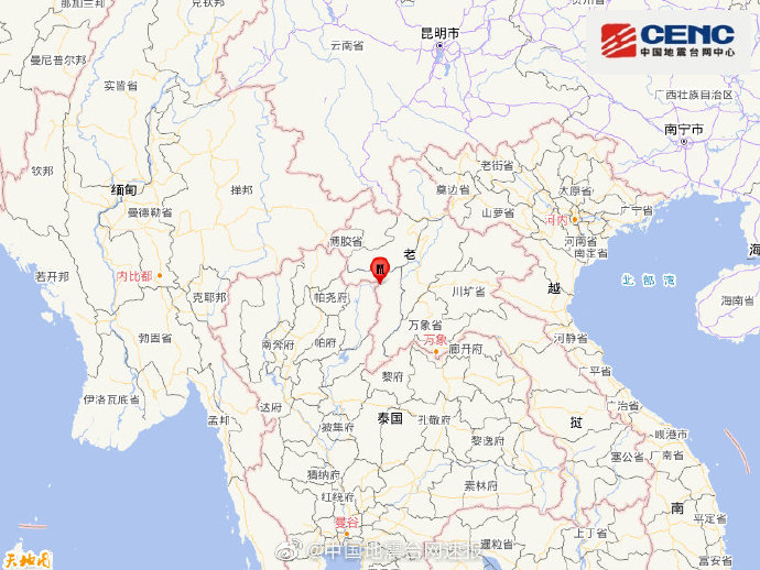 闪电新闻 老挝发生6.0级地震 震源深度10千米