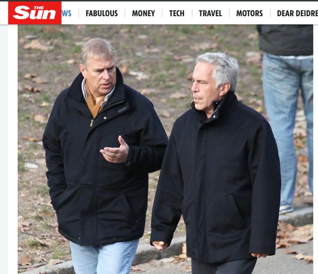 安德鲁王子和爱普斯坦。/ 《太阳报》截图。