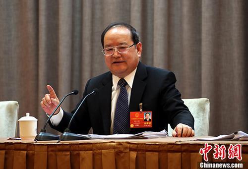 资料图:图为鹿心社发言。 中新社记者 刘占昆 摄
