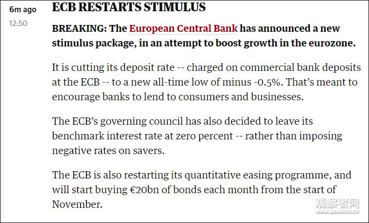 欧洲央行将存款利率下调至-0.5% 并重启QE