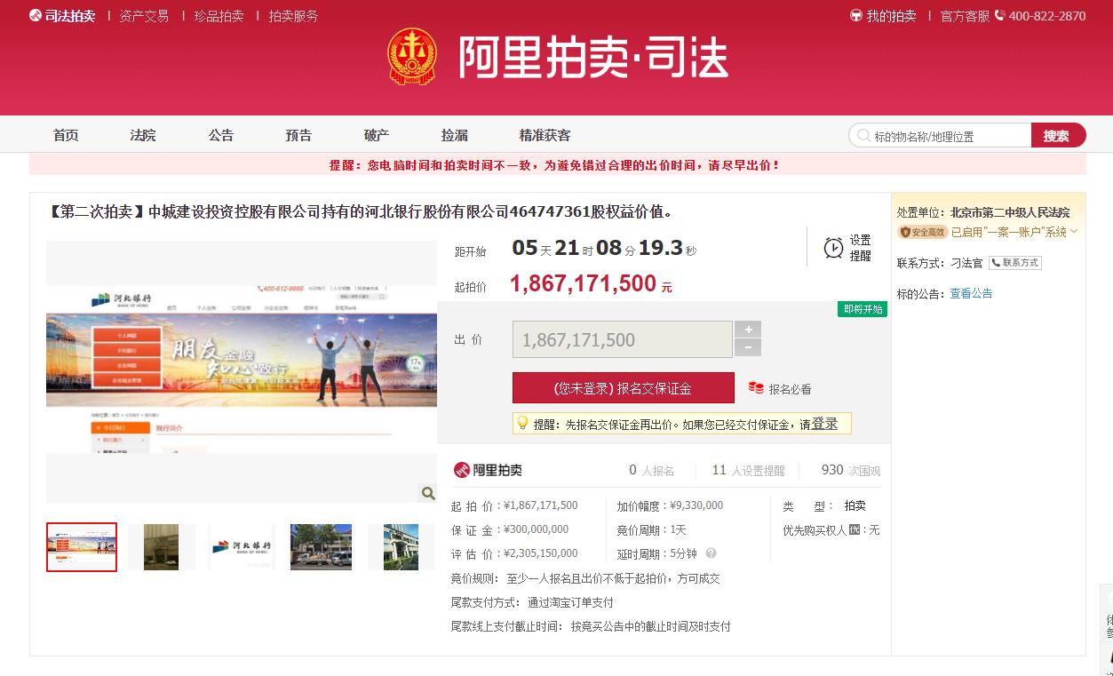 降价2亿!河北银行第三大股东4.65亿股股权将再次拍卖
