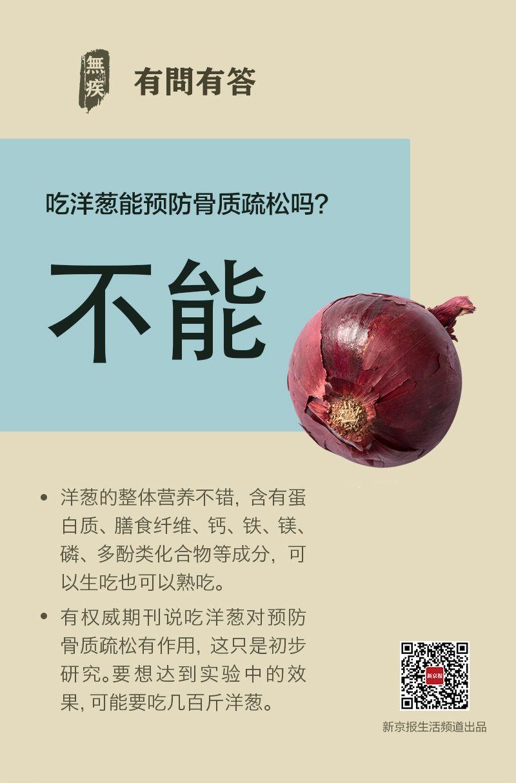 预防骨质疏松 吃洋葱没啥用丨每日健康问答