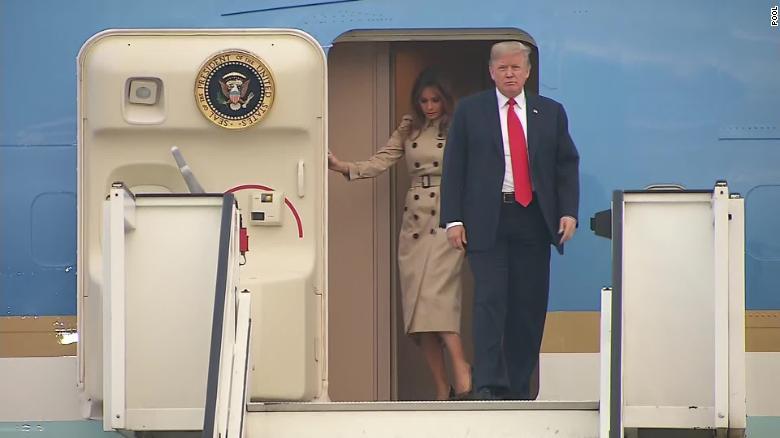 川普乘坐空軍一號抵達比利時。