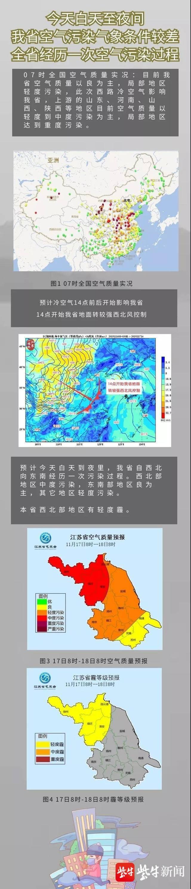 17日白天到夜间,江苏将经历一次空气污染过程
