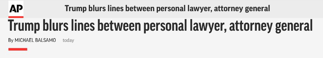 <b>公私不分?美司法部长:我何时成了特朗普私人律师</b>