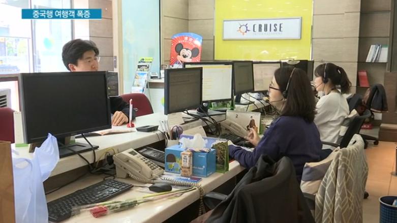 韩国游客在旅行社咨询赴华游
