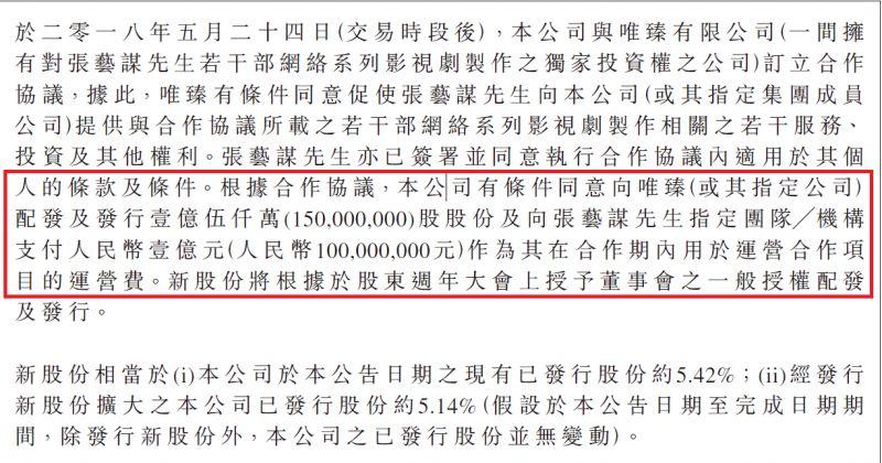 5月24日欢喜传媒宣布与张艺谋导演签约