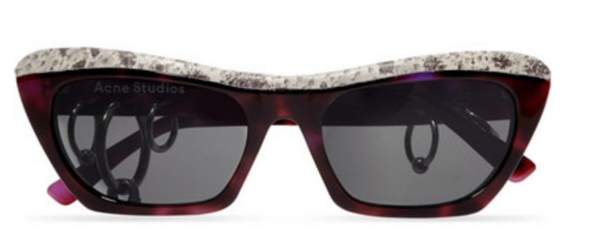 ACNE STUDIOS Dielle 仿蟒蛇纹皮革板材猫眼太阳镜 $500