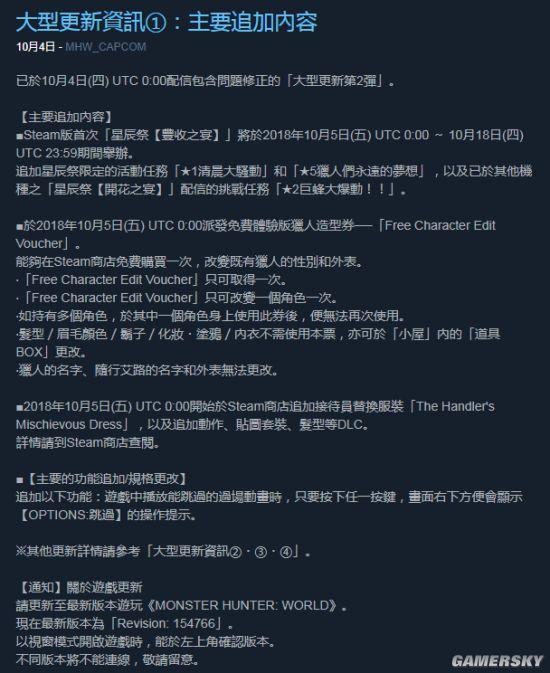 《怪物猎人:世界》更新内容太少引差评 网友:重新定义大型更新