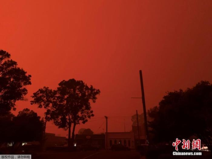 资料图片:澳大利亚维多利亚州马拉库塔的天空被山火映红,数以千计的当地居民和度假游客收到撤离通知。
