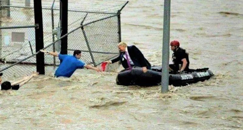 特朗普洪水捞人照火了 辟谣的记者被diss了