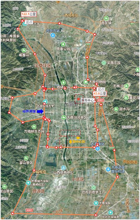 太原市区、中环快速路、新老市中心区示意图(手绘仅作大致示意用途)(资料来源:百度地图、作者手绘)
