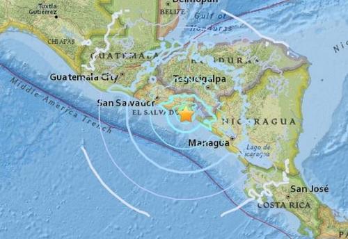 中美洲国家萨尔瓦多南部6日发生一连串地震。图片来源:美国地质勘探局网站截图。