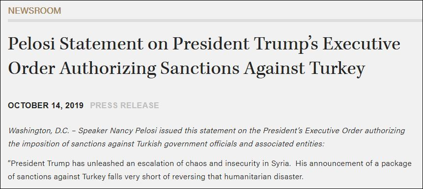 特朗普刚制裁土耳其 老对手佩洛西就发声了