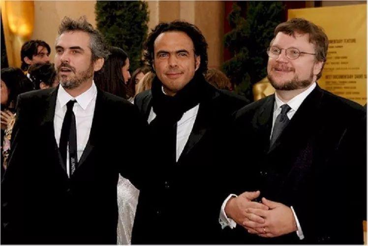 墨西哥三杰,从左至右:阿方索·卡隆、亚利桑德罗·冈萨雷斯·伊纳里图、吉约姆·德尔·托罗