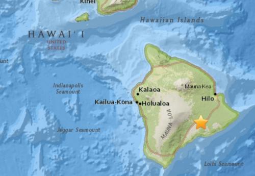 夏威夷大岛发生5.6级地震。(图片来源:美国地质勘探局网站截图)