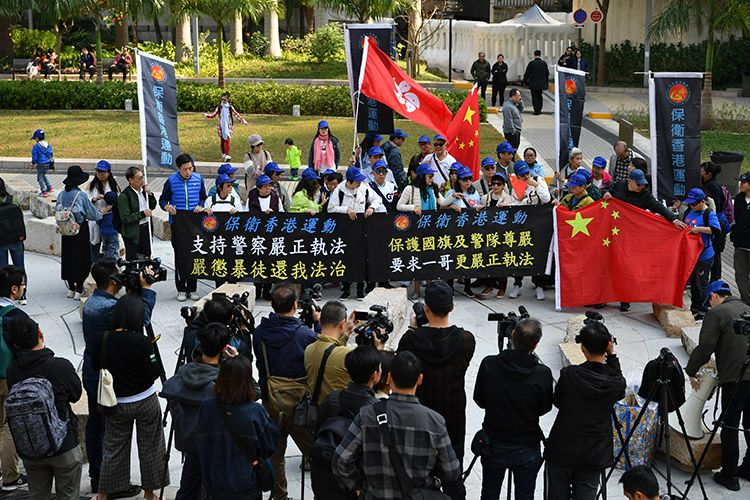 香港政治团体向警方请愿:维护国旗尊严 保护警队安全图片