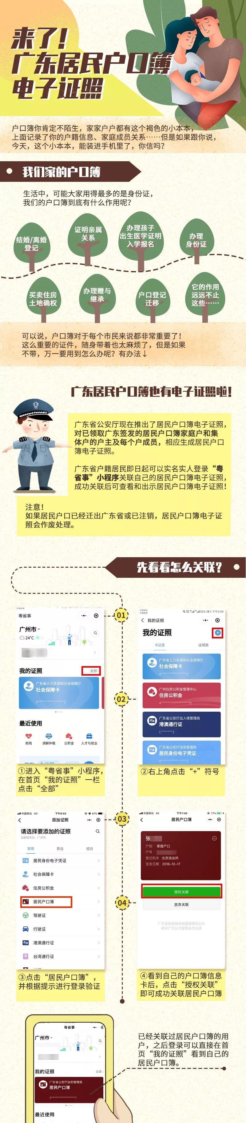 重磅上线!广东居民户口簿也有电子证照啦!马上关联你家的→