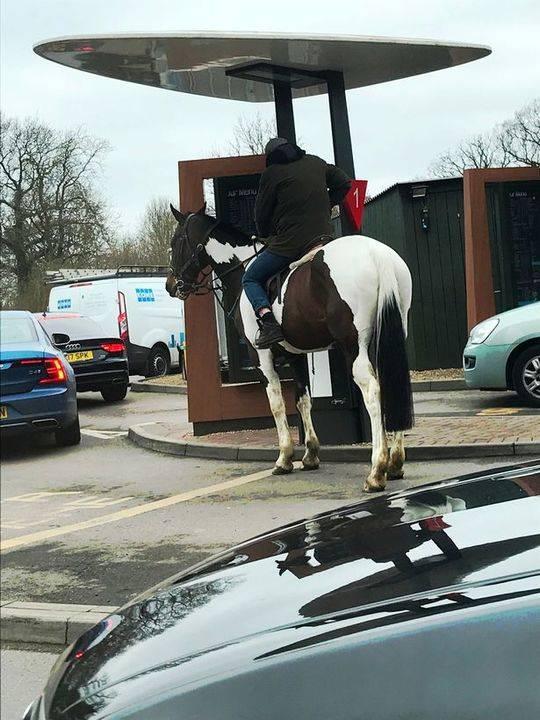 英男子骑马到麦当劳汽车餐厅点餐 顾客一脸懵