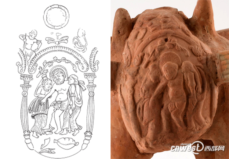 古希腊酒神狄俄尼索斯的形象被印刻在了陪葬陶骆驼上。