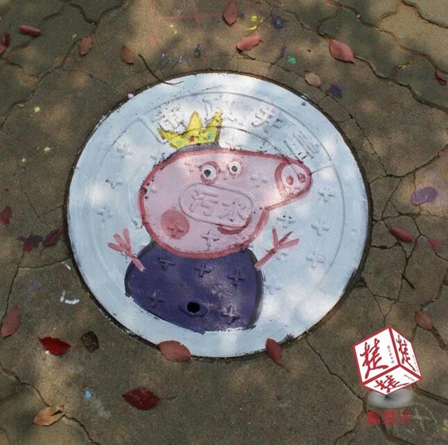 大学生创意涂鸦校园井盖