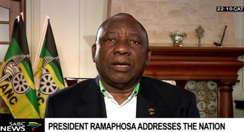视频截图:拉马福萨对南非国民发表讲话