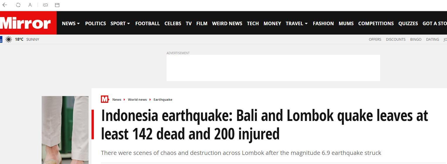 印尼龙目岛地震遇难者上升至142人 至少200伤