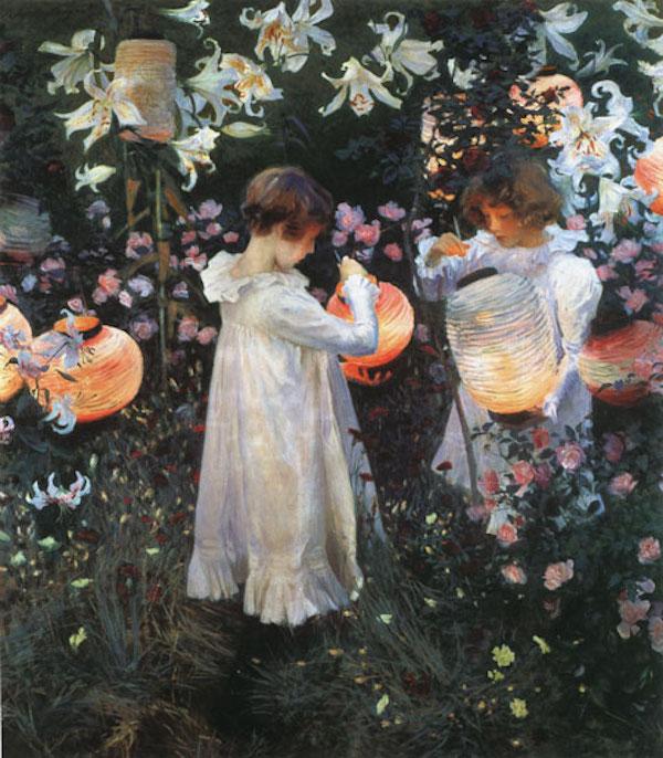 萨金特《康乃馨、百合、玫瑰》1885-1886图片来自网络