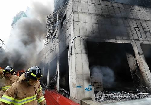 韩世宗市一施工现场发生火灾 27人受伤4人下落不明