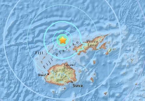 斐济北部海域发生5.7级地震 震源深度10公里