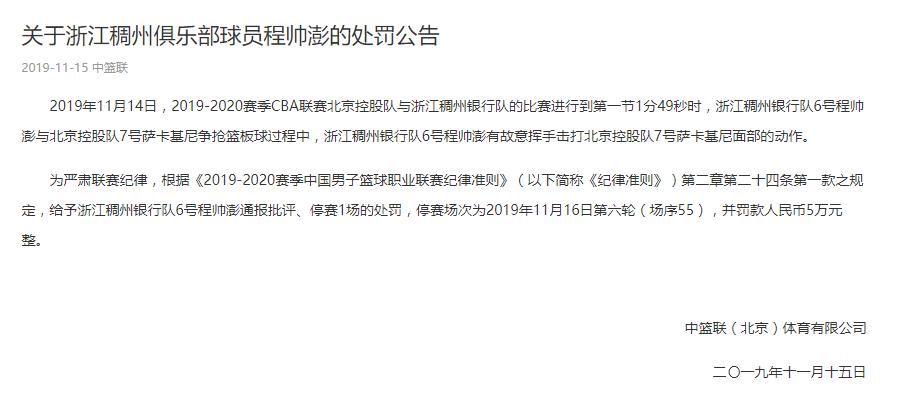 CBA浙江队程帅澎故意击打对方球员 被停赛1场罚5万