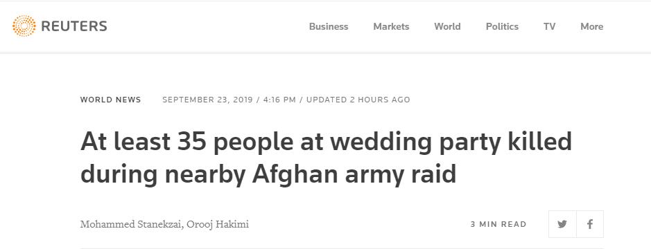 """阿富汗一月内第二起""""血色婚礼"""" 致35死3人受伤"""