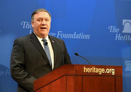资料图片:美国国务卿蓬佩奥。新华社记者 杨承霖 摄