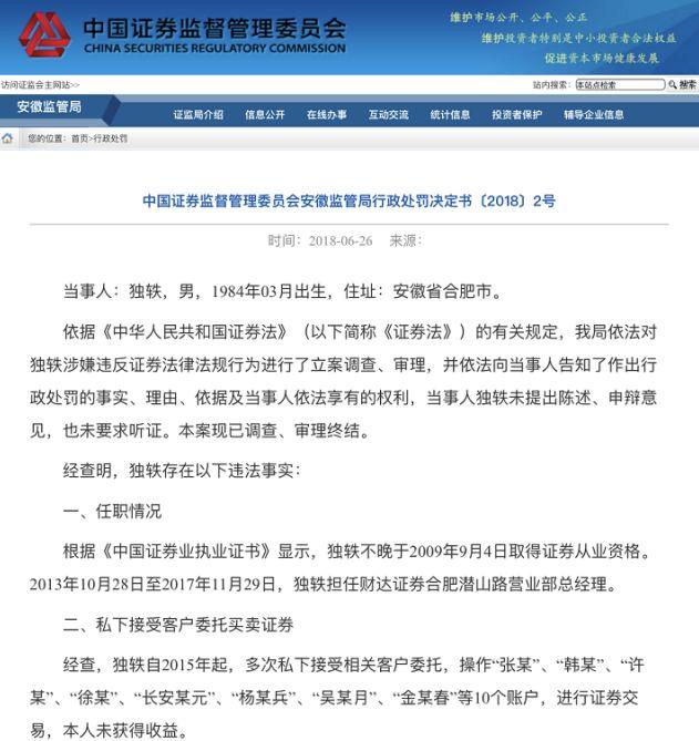 财达证券一营业部总经理炒股遭罚 炒亏12万还罚16万