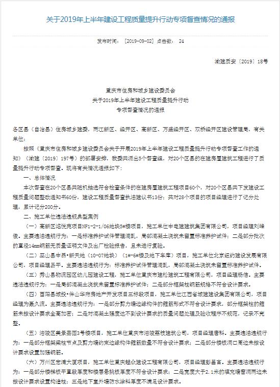 中铁二十局施工项目存违规行为 被重庆市住建委点名