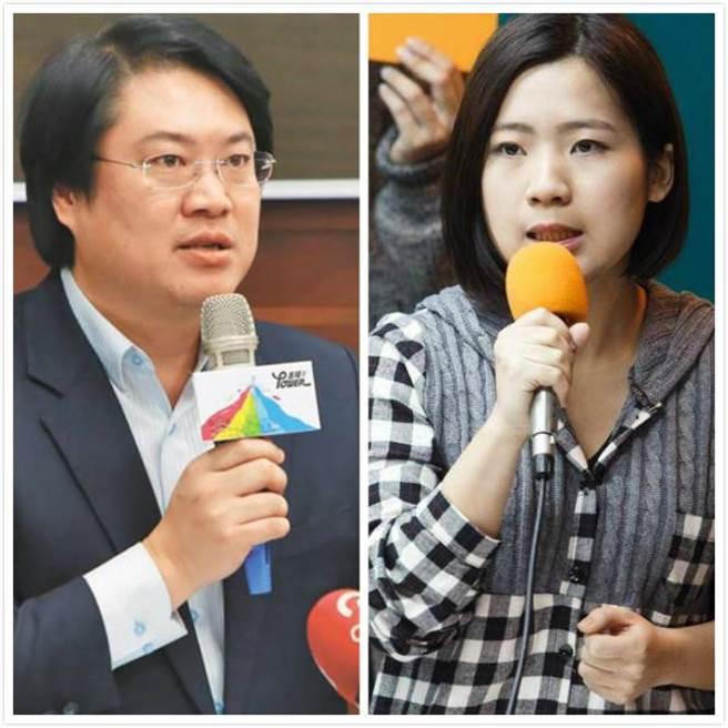 基隆市长林右昌(左)与马办发言人徐巧芯(右)